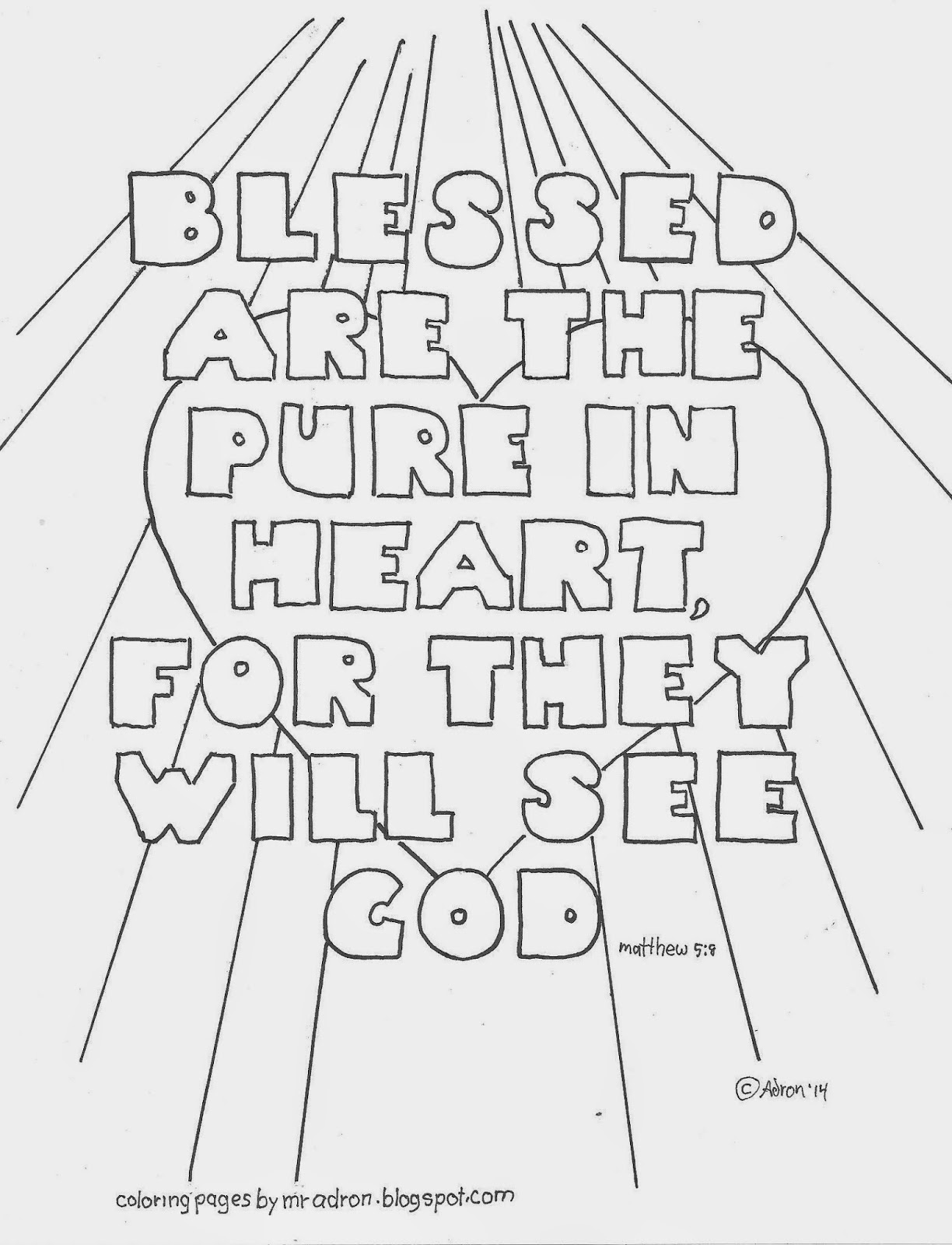 Free Pure In Heart Coloring Pages