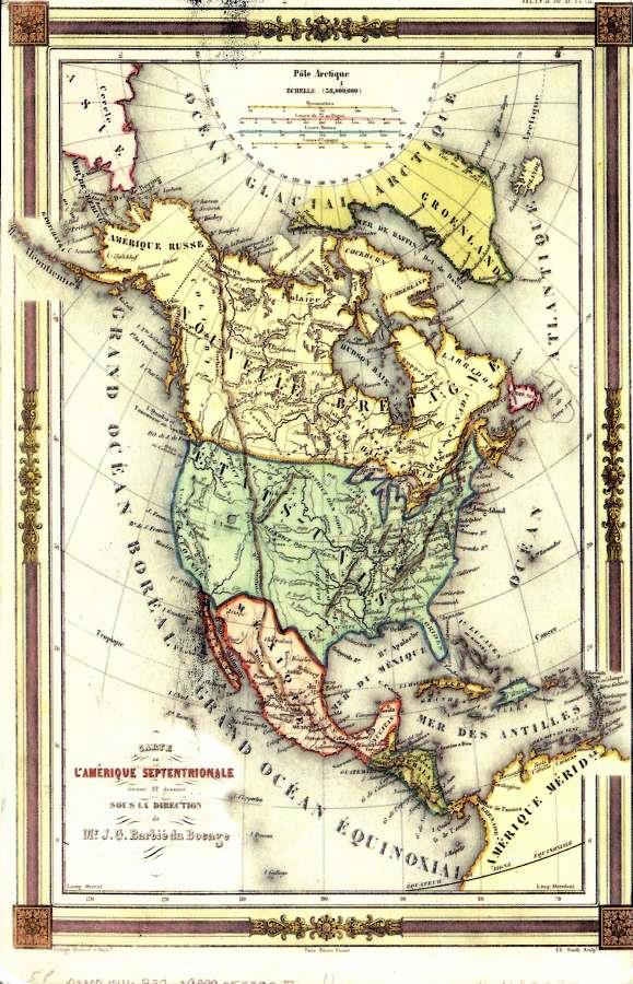 card of a vintage map of north america