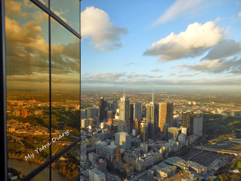 Golden reflections at the Eureka Sky deck, Melbourne Victoria Australia