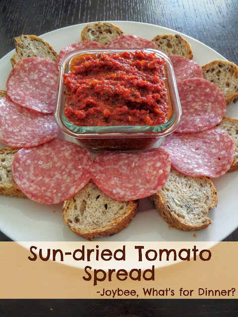 Sun-dried Tomato Spread:  A zesty two-ingredient spread made with pureed sun-dried tomatoes and olive oil.  A great appetizer for a party, a gameday snack, or anytime.