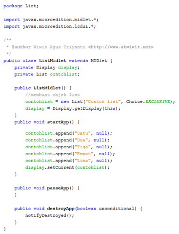 Cara membuat List (J2ME)