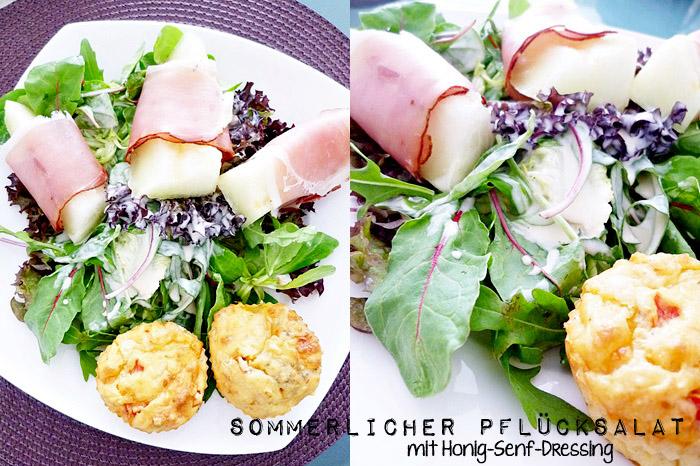 sommerlicher Pflücksalat mit Honig-Senf-Dressing und Tomaten-Mozzarellamuffins