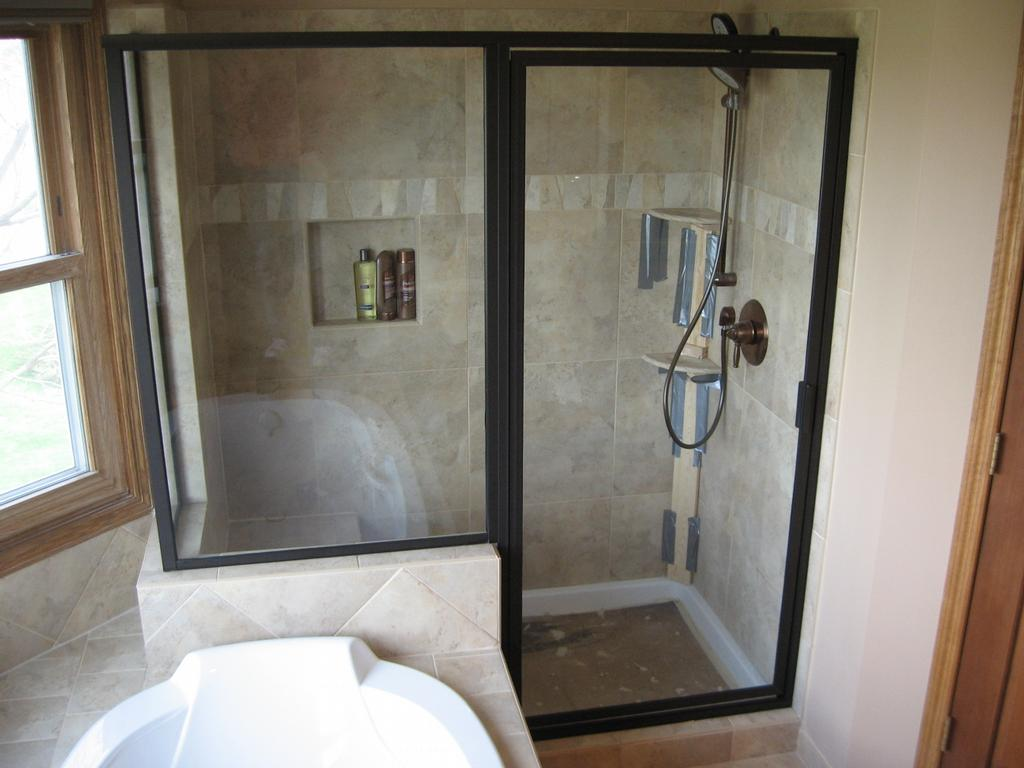 Bathroom shower home design interior for Bathroom entrance doors