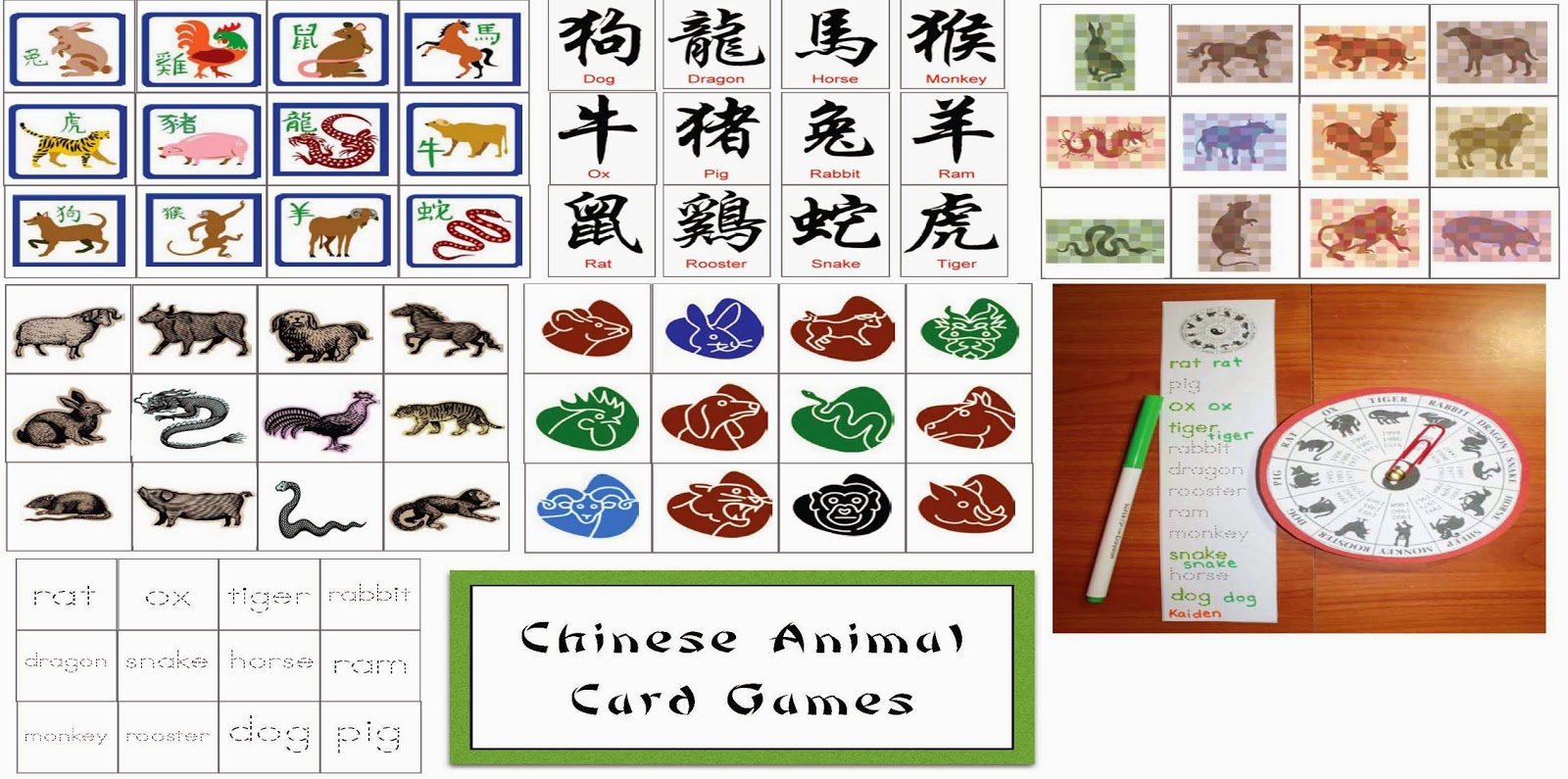Classroom Freebies: Chinese New Year Animal Card Games
