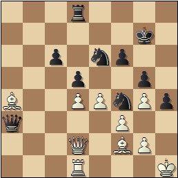 Partida de ajedrez Ernesto Palacios vs. Ricardo Calvo, posición después de 36…Da3!!