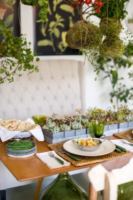 planta crasa como centro floral para boda