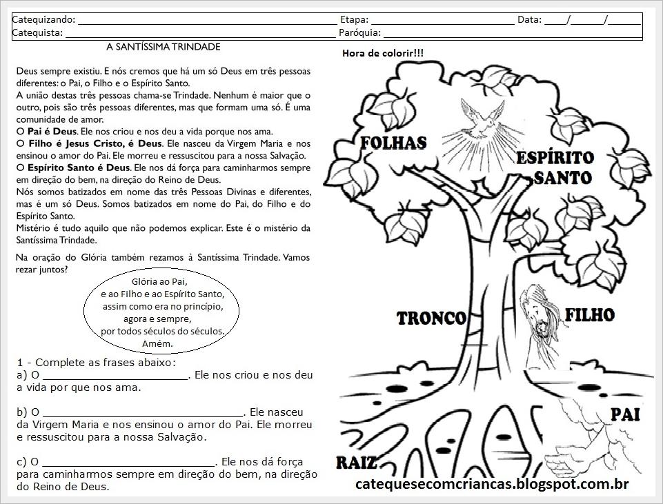 Muitas vezes Catequese com Crianças: Santíssima Trindade - Atividade para Catequese YE69
