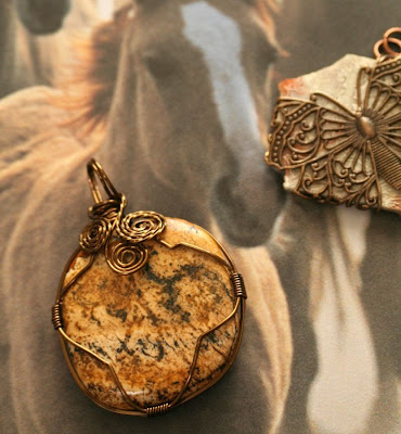 My cabochon creations: wrapped in antique bronze wire and Vintaj filigree butterfly :: All Pretty Things