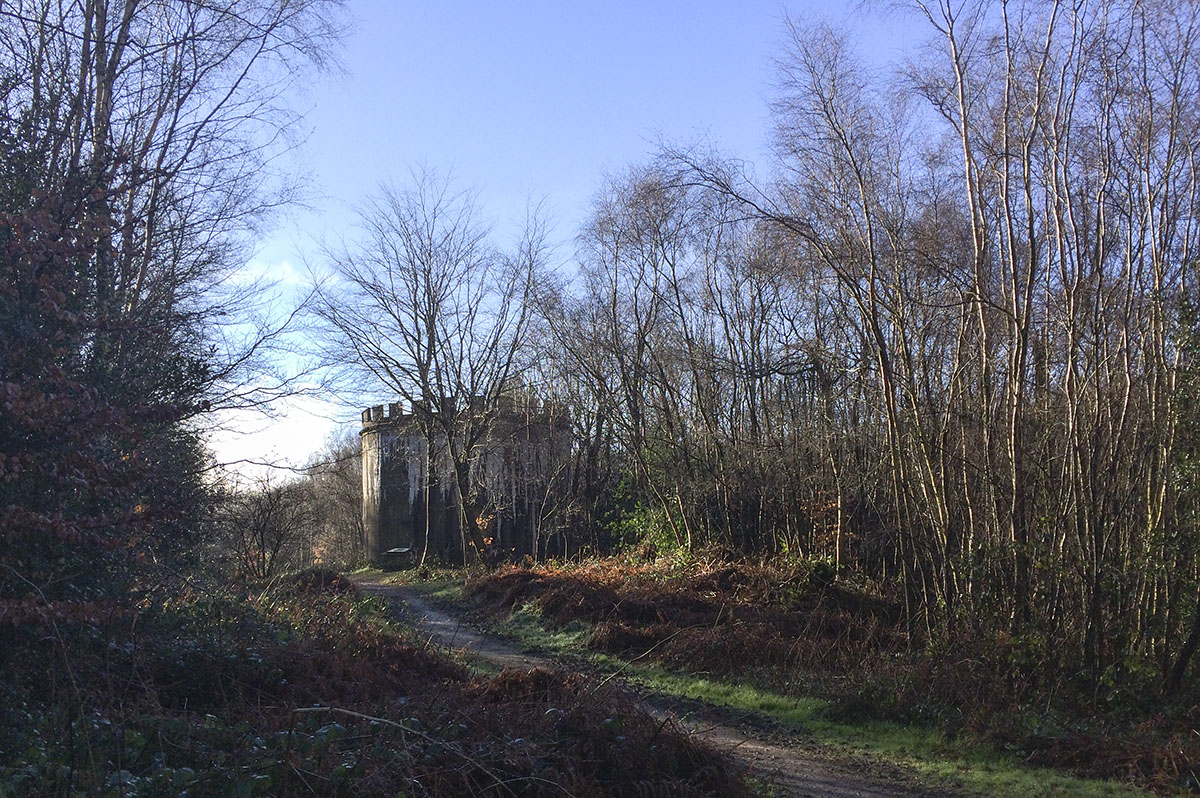The Bat Tower at Toys Hill comes into view. 21 January 2014.