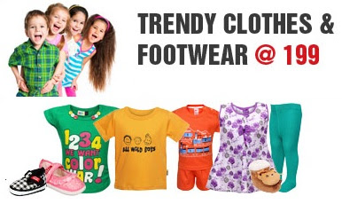 Get Kids Apparels & Footwear just for Rs.199 (Valid till 28th June'13)