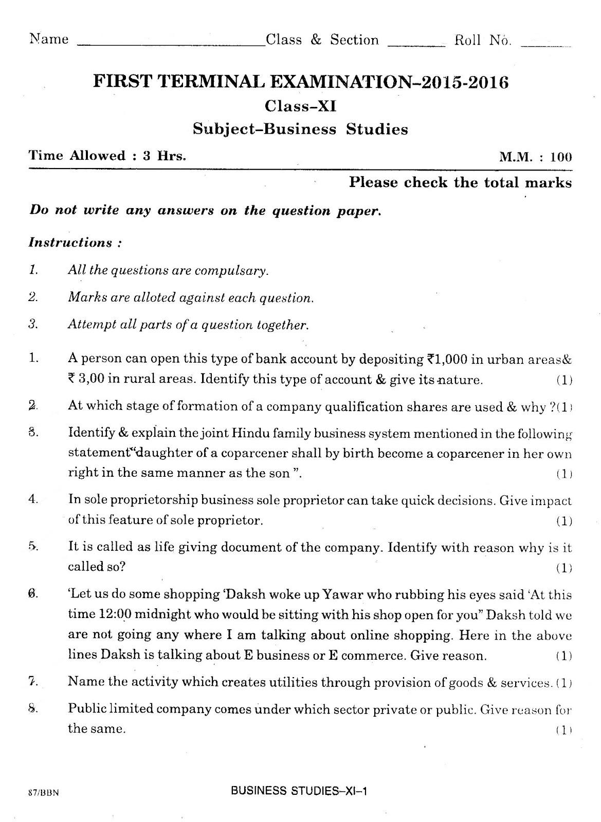 Bst4all class xi business studies birla vidya niketan school first class xi business studies birla vidya niketan school first term question paper 2015 2016 malvernweather Gallery