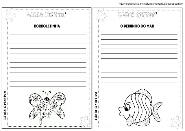 Álbum para escrita de CANTIGAS DE RODA