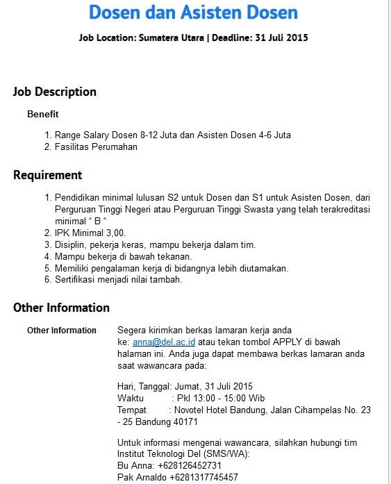 Lowongan Kerja Medan Dosen Institut Teknologi Del Tobasa ...