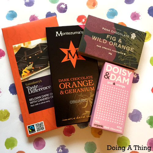 A selection of orange-flavoured chocolate