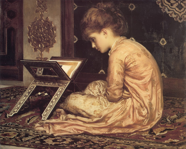 frederic leighton,girl reading the bible,bible reading