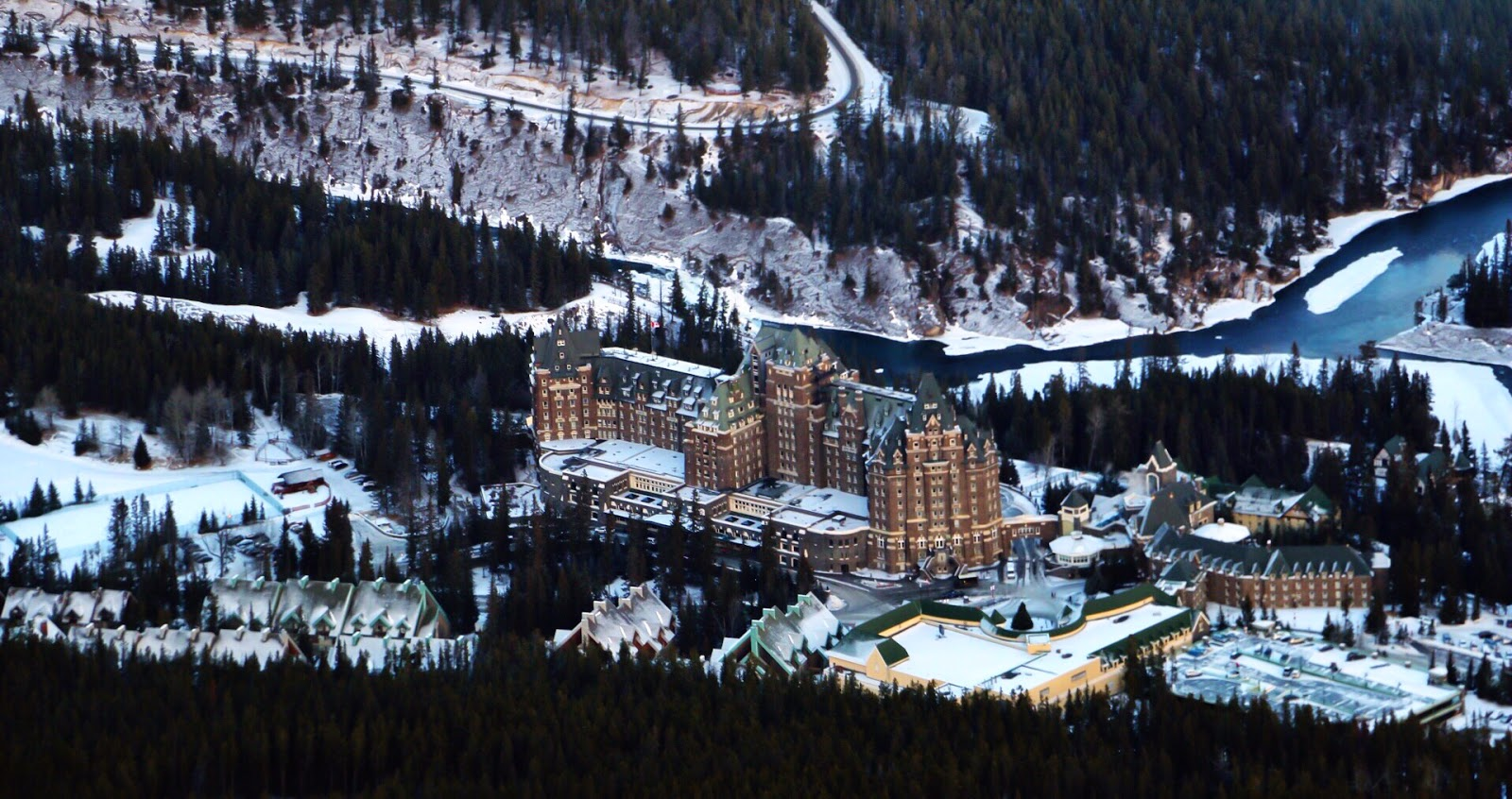 Fairmont Banff Springs as seen from Sulphur Mountain Alberta Canada by Jessica Mack (aka SweetDivergence)
