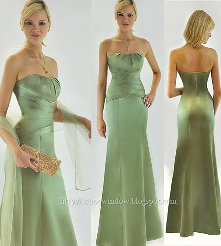 светлозелена дълга рокля с метален блясък