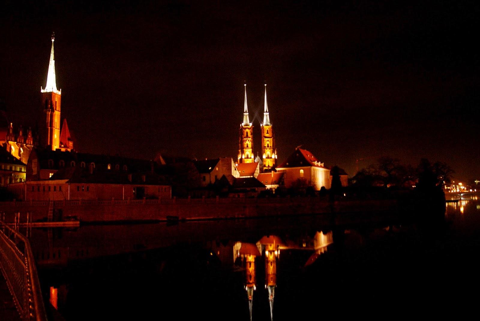 Ostrów Tumski Wrocław noc katedra