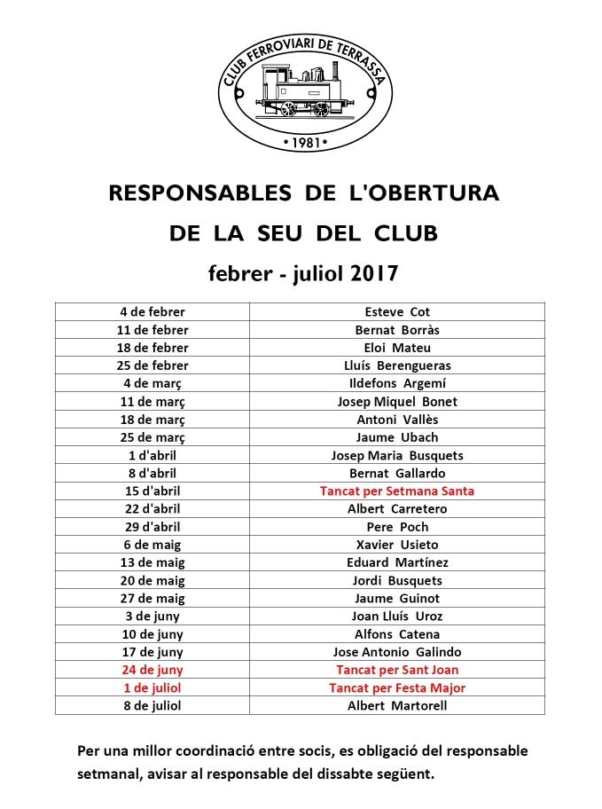 Responsables d'obertura de la seu del Club 2017