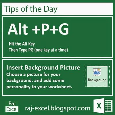 Tips of the Day: Microsoft Excel 2013 Short Cut Keys: Alt + PG (Background Picture)
