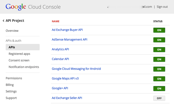 cloud console screenshot