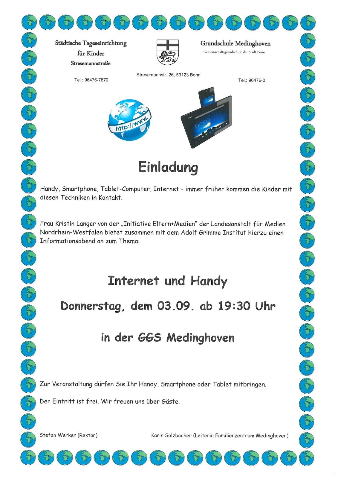 stadtteilblog medinghoven: informationsabend für eltern - thema, Einladung