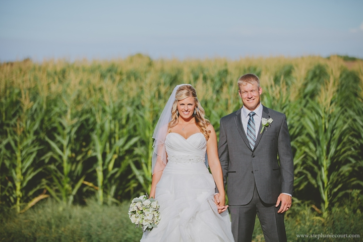 """""""bride and groom in corn field at chic farm wedding"""""""