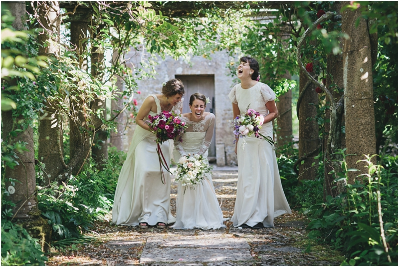 Three bridal models laughing