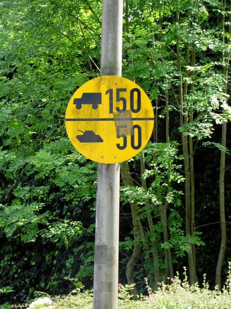 Military Vehicles road-sign