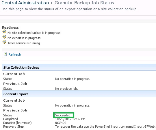 Granular Backup Job Status in Sharepoint 2010