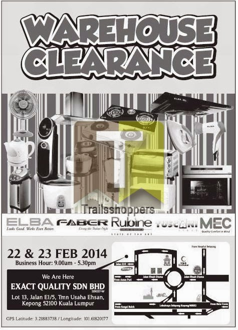 Exact Quality Electrical Appliances Warehouse Clearance Sale