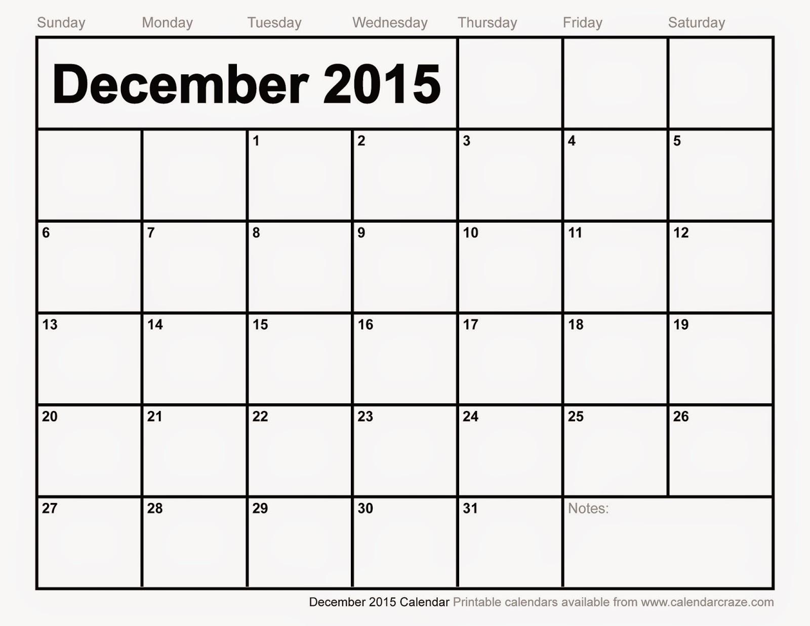 Free Printable Calendar: Free Printable Calendar December