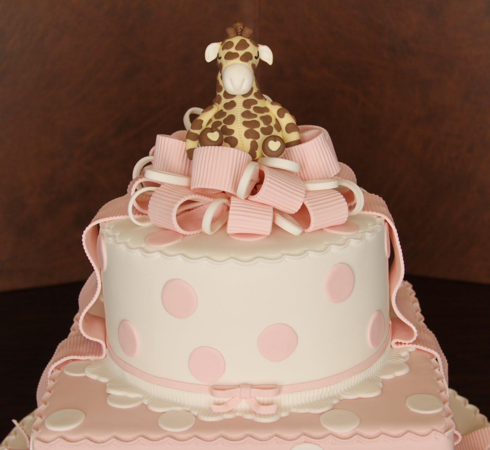 giraffe polka dot baby shower cake