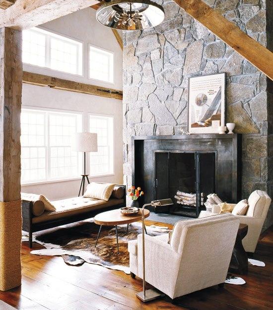 See this house barn raising style cococozy - Chimeneas modernas decoracion ...