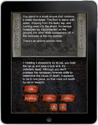 Kowloon Walled City Text Adventure Game or interactive fiction work for iOS ( iPad and iPhone ), Android, and Kindle Fire