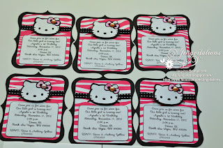hello kitty hot pink and black zebra invitations