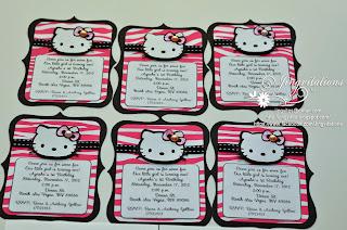 hello kitty hot pink and black zebra invitations