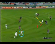 Tassotti moves forward with the ball while Boban (blue) makes a run on the . (milan attacking fluency )