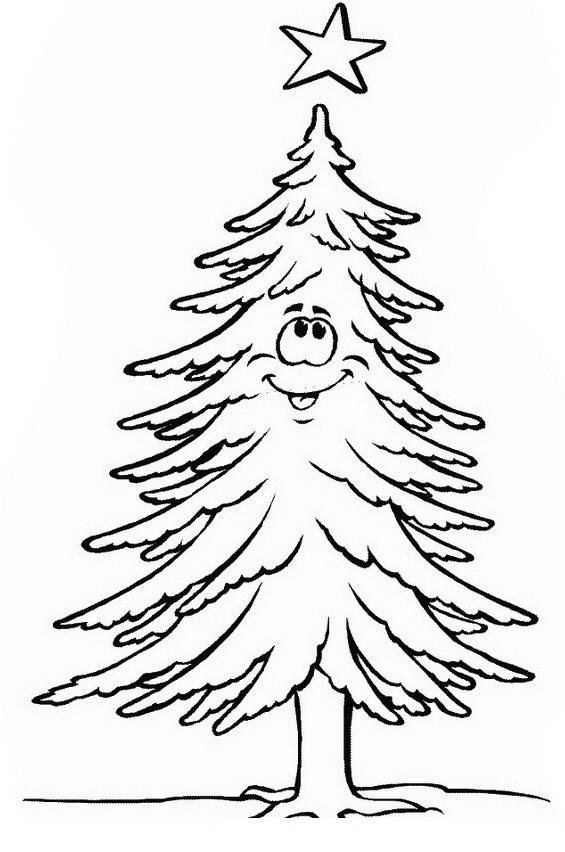 Árbol de Navidad con estrella sonriendo para colorear y pintar ...