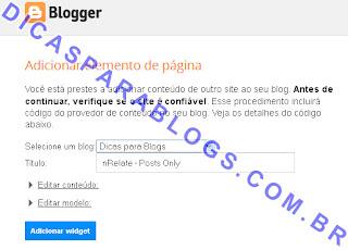 Instalar gadget automaticamente no blogger