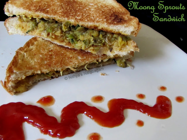 Bean Sprout Sandwich Moong Dal Sprouts Sandwich