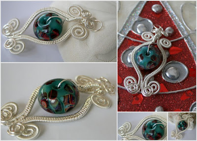 She made/She made with a twist: silver, Boro lampwork glass, wire wrapping, wire lace, ooak pendant:: All Pretty Things