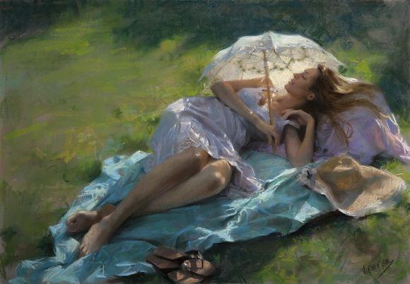 Vicente Romero pinturas mulheres impressionistas beleza Deitada sob uma sombrinha ao sol