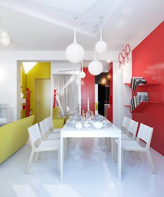 comedor apartamento pequeño rojo y blanco