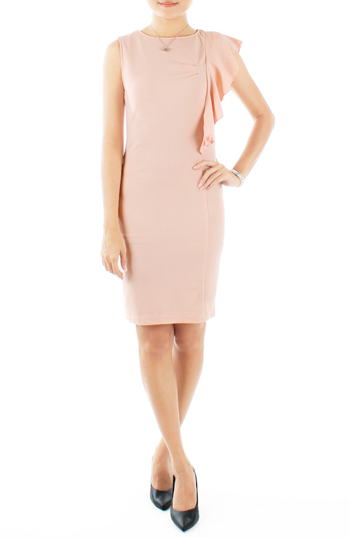 Pastel Pink Theory One-side Flutter Sleeve Dress