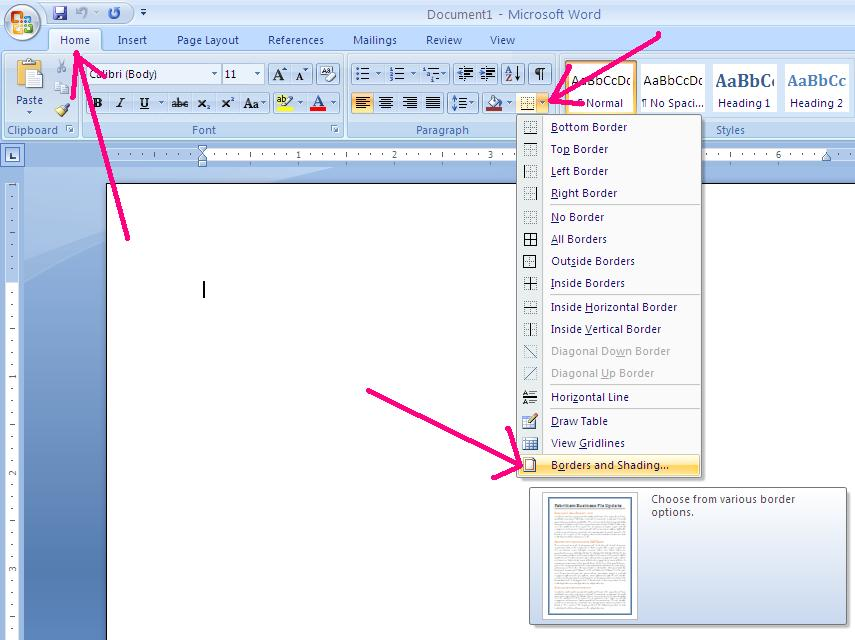 word how to add borders