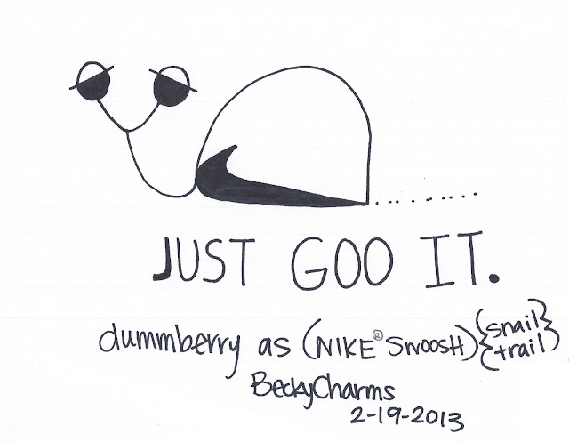 Dummberry says Just Goo It with The Swoosh, 2013, dummberry, beckycharms, San Diego, Nike, athlete, sports, art, arte, artwork, cartoon, snail,