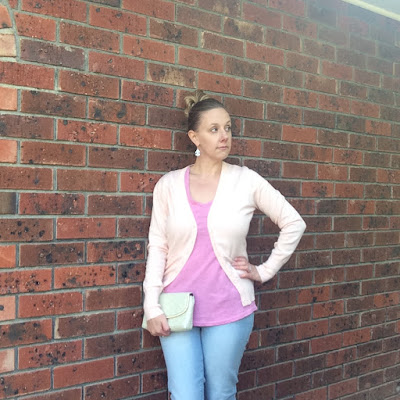 Pastel outfit, OOTD, cardigan, jeans, heels, clutch