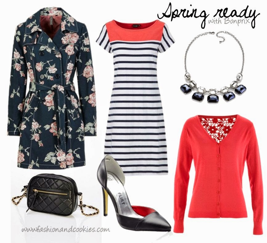 Floral trench, striped coral dress, pointy heels, crossbody mini quilted bag, Bonprix Spring essentials on Fashion and Cookies fashion blog