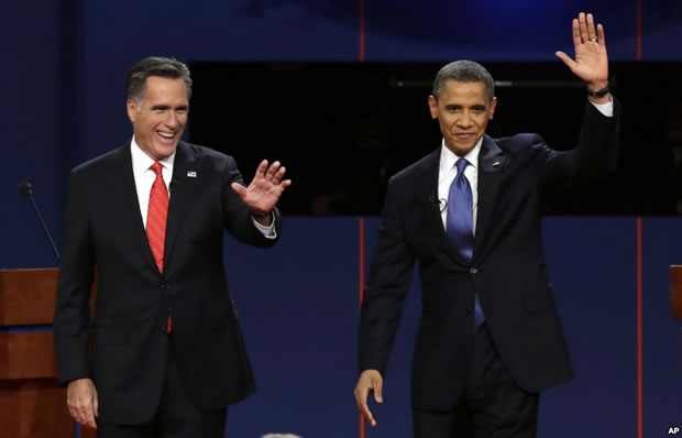 Obama e Romney estão praticamente empatados nas pesquisas de opinião. Ambos divergem sobre os direitos de lésbicas, gays, bissexuais, travestis e transexuais (Foto: AP)